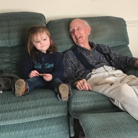 """Bella and our """"neighbor"""" Rev. Don Sweet"""