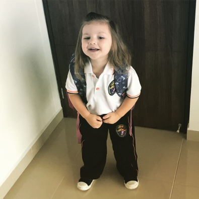 Bella ready for her first day of school in Colombia
